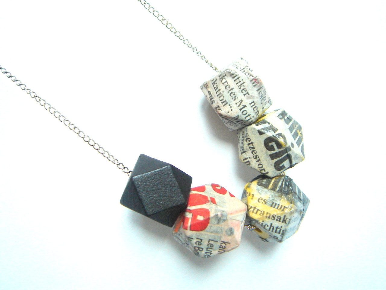 Geometric Necklace,Decoupage Geometric necklace,Wood & Newspaper necklace