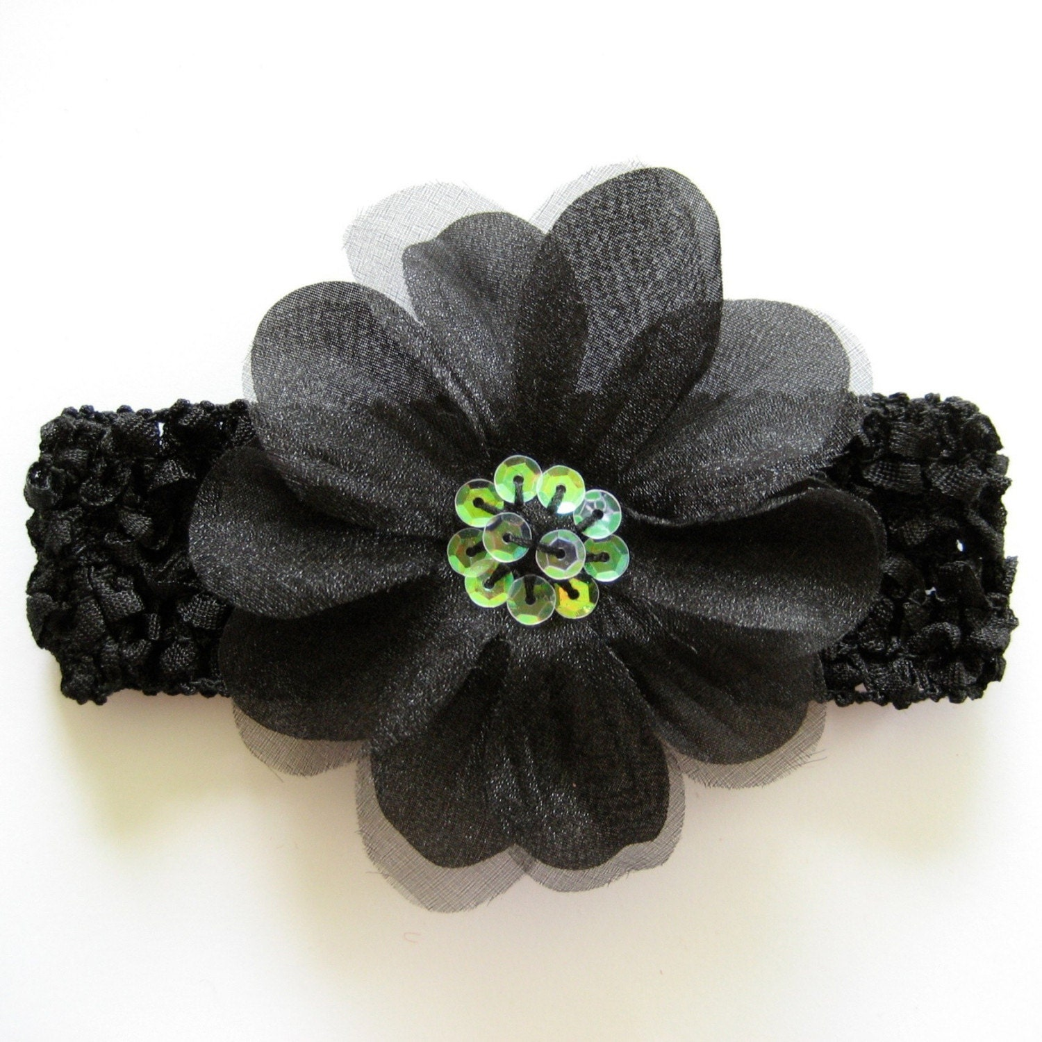 Beautiful Black Sequin Flower with Black Crochet Headband - Newborns, Infants, Toddlers - Adults