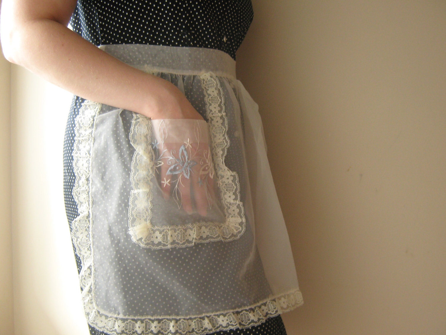 White Organza Hostess Half Apron
