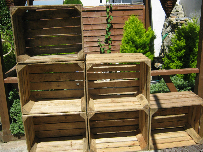 3 x Vintage Rustic European Wooden Apple Crates ideal storage boxes box display crate bookshelf idea