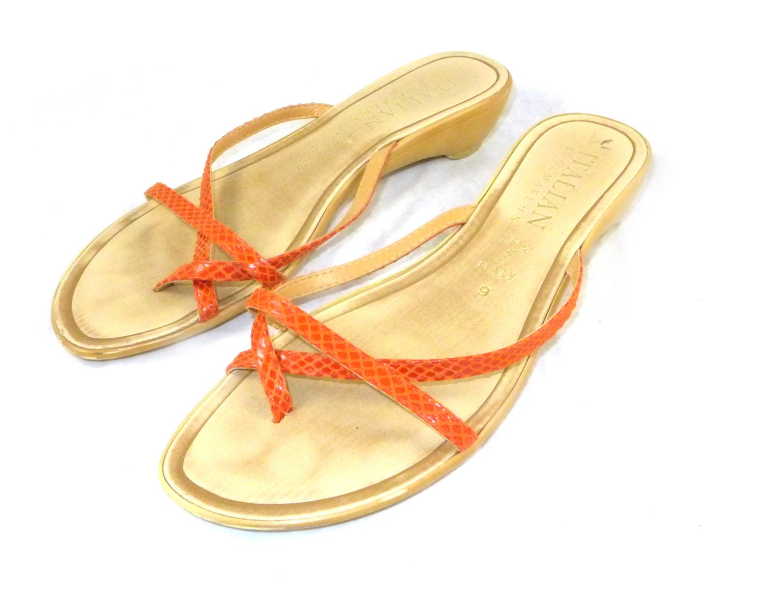 Orange leather snake-print thong flip flops / sandals - Italian shoemakers / vintage wedges shoes - CuratedCloset