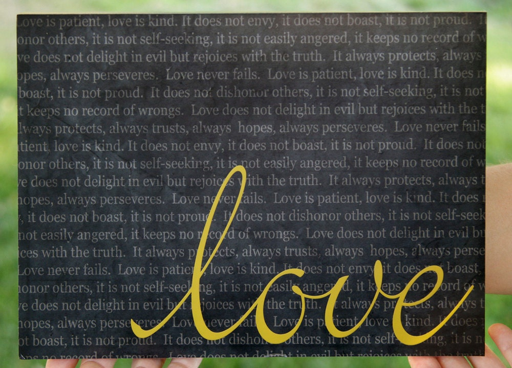 I Corinthians 13- Love, 8x10 Stand Out Print