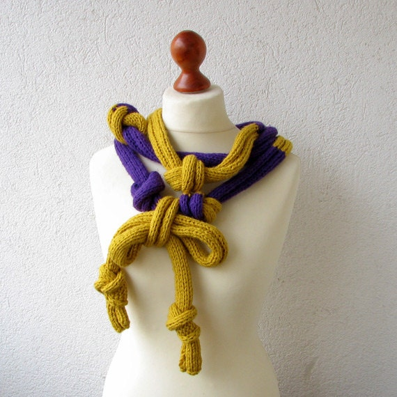 Knitted  Necklace, Big Mustard - Violet Necklace - Skinny Scarf - AlbadoFashion