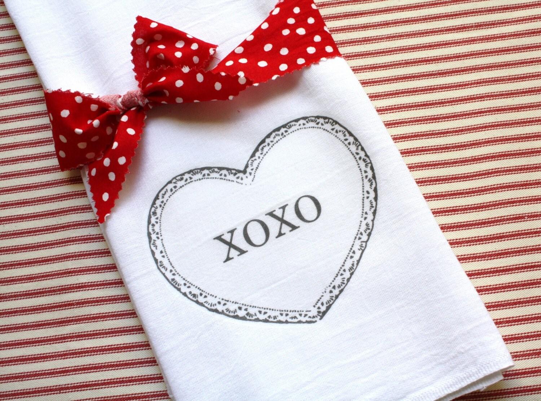 Valentine Day Kitchen Flour Sack Towel, Tea Towel,  XOXO, Cotton, Heart, Home Gift