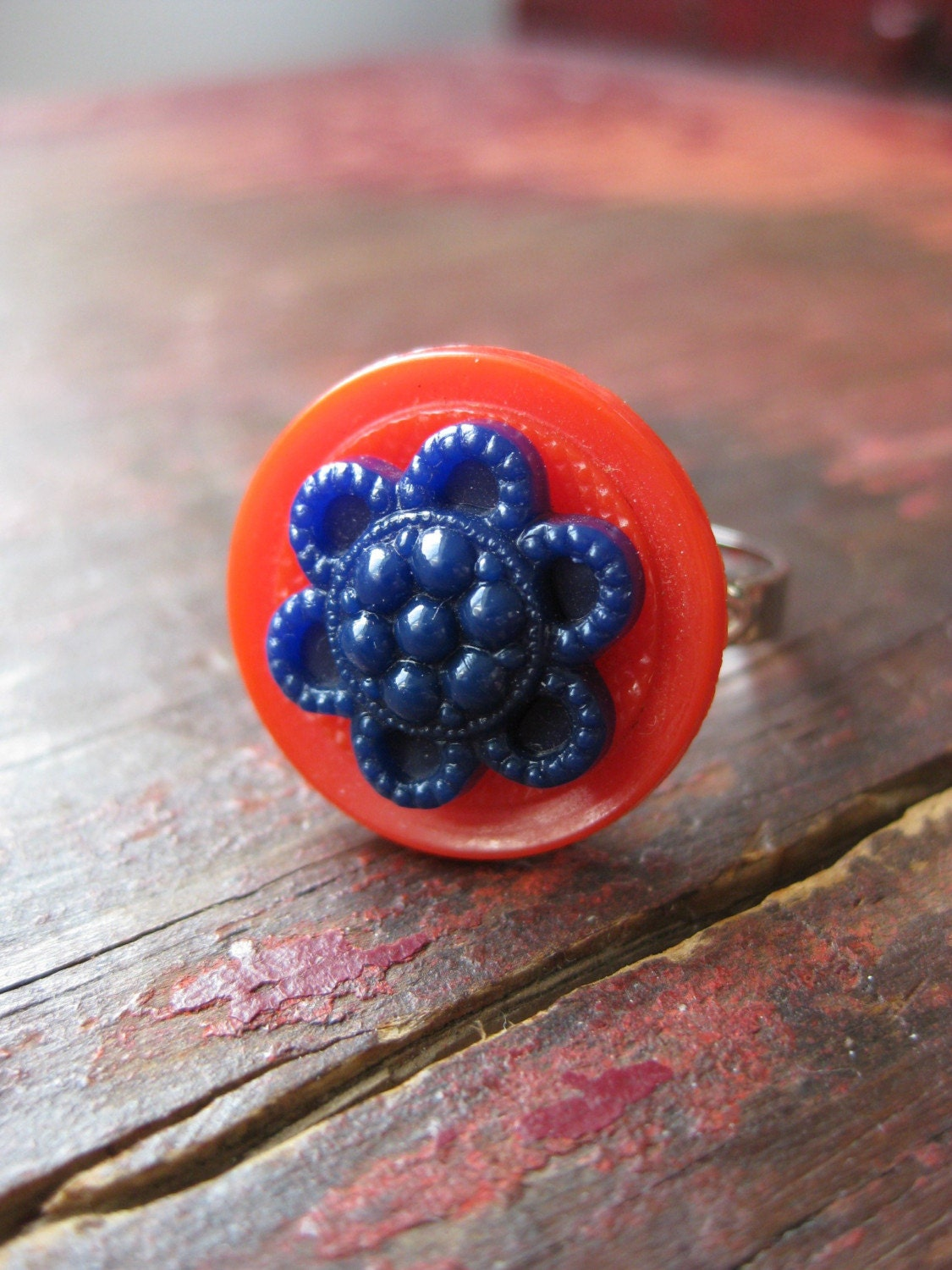 4th of July - Vintage Button Ring