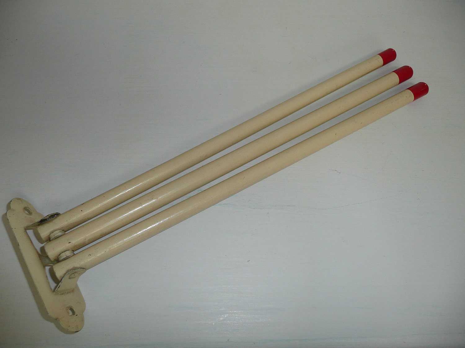 1950s Wooden Swing Arm Three Arm Towel Rack By