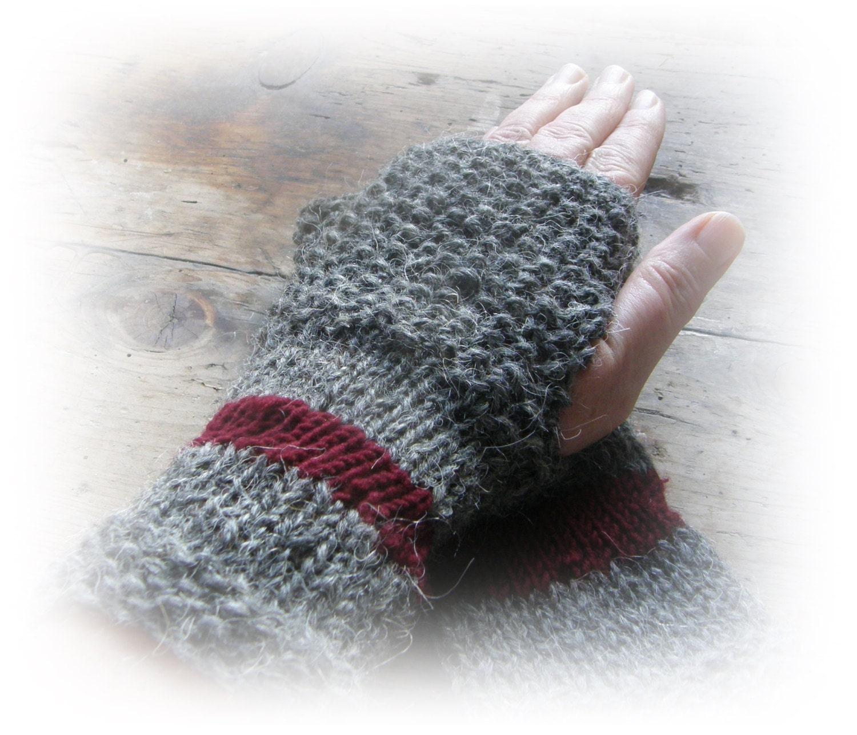 Rustic handknit fingerless-gloves, rustic mittens, eco friendly, gift under 20, unique gloves - Taschenatelier