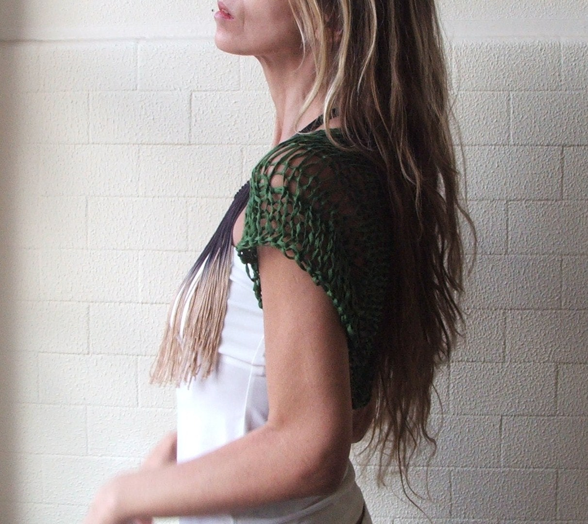 Short sleeved Shrug in Emerald green bamboo tape yarn