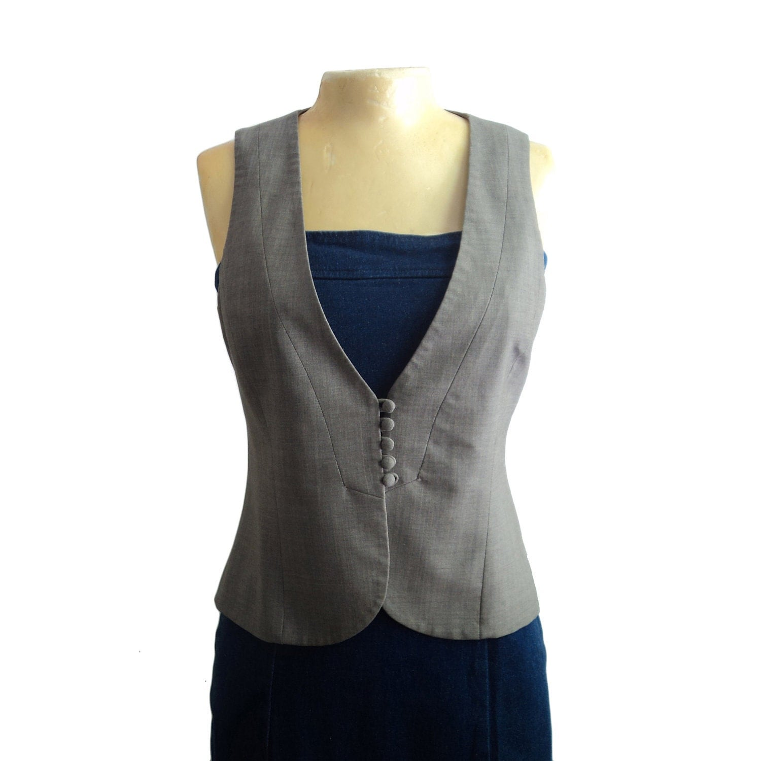 Vintage Minimal Theory Menswear Inspired Warm Gray Wool Vest, Fitted, Haberdashery, Size Small 4 - sartorialistas