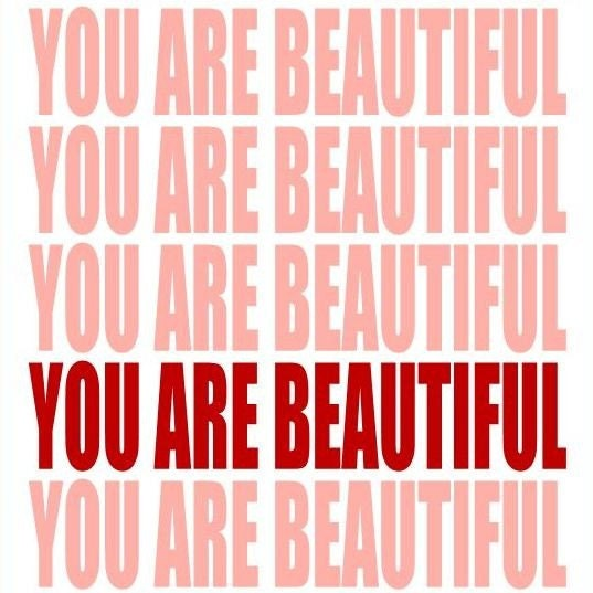 You Are BEAUTIFUL Art Print Pink and Red 8 x 10