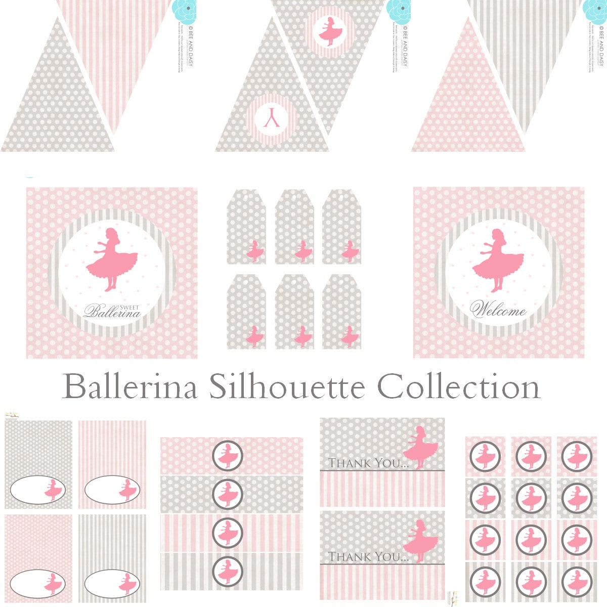 Vintage Ballet Silhouette Decorations for Birthday by BeeAndDaisy