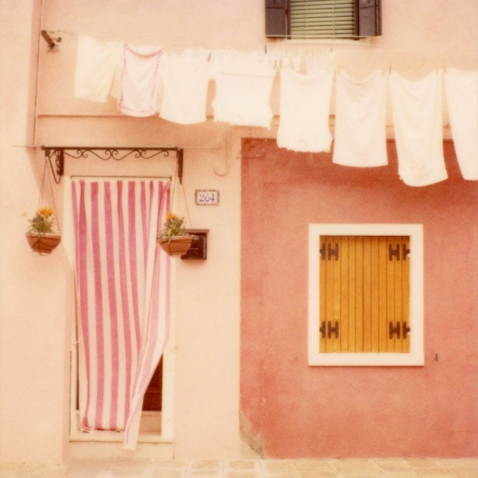 Laundry day - Polaroid travel photograph - Burano, Italy - A perfectly charming pink house