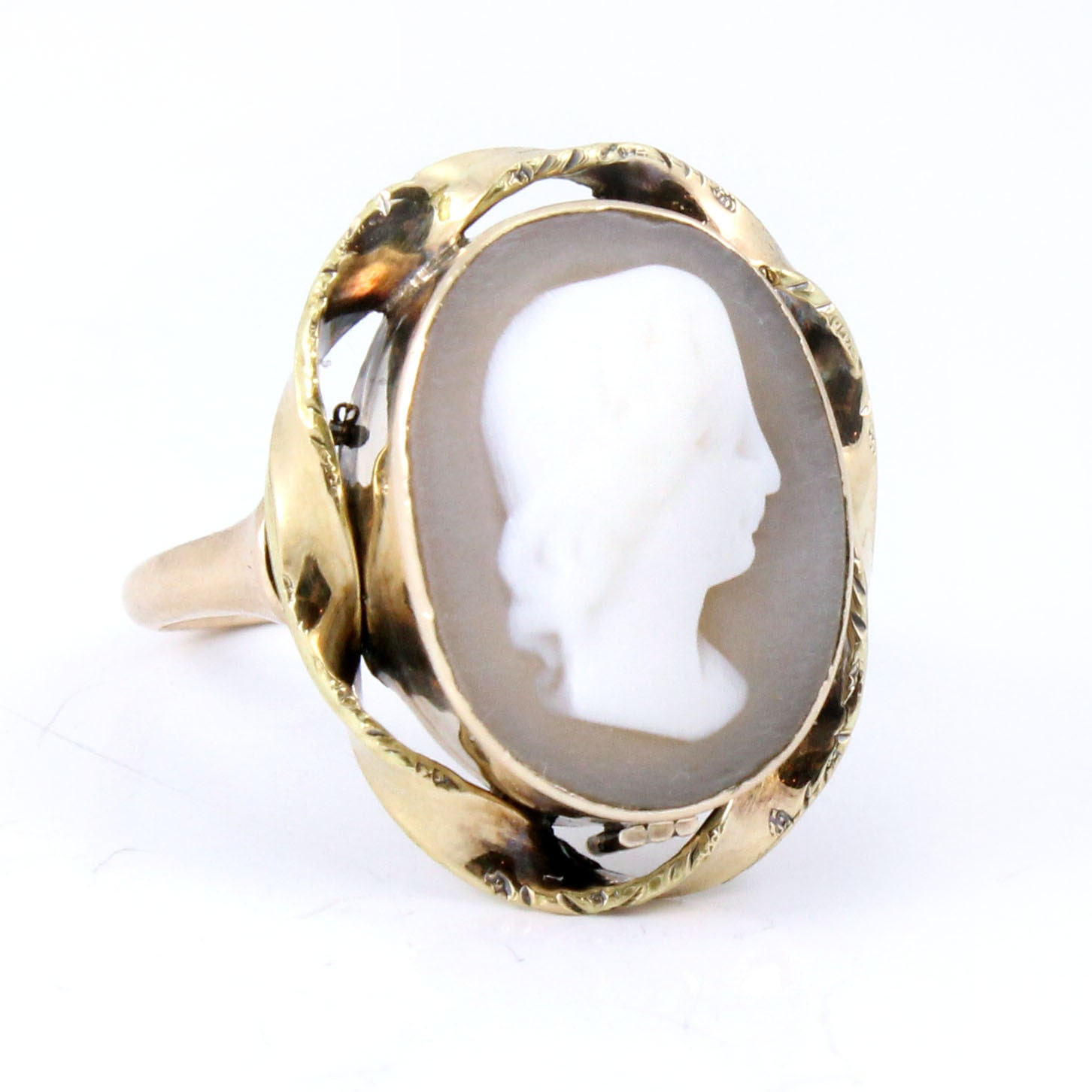 10k antique shell cameo antique ring by