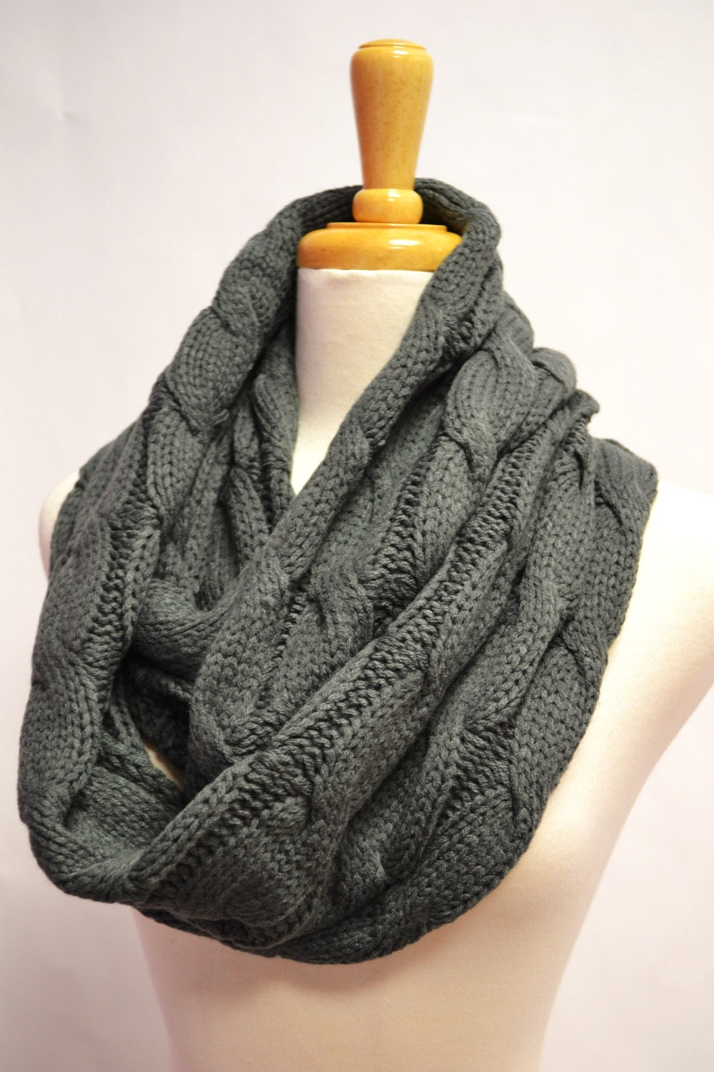 CHUNKY KNITTED LOOP INFINITY CIRCLE SCARF CABLE PATTERN SNOOD COWL ...