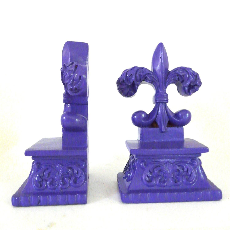 Fleur De Lis Bookend Purple Desk Accessories Bookends By