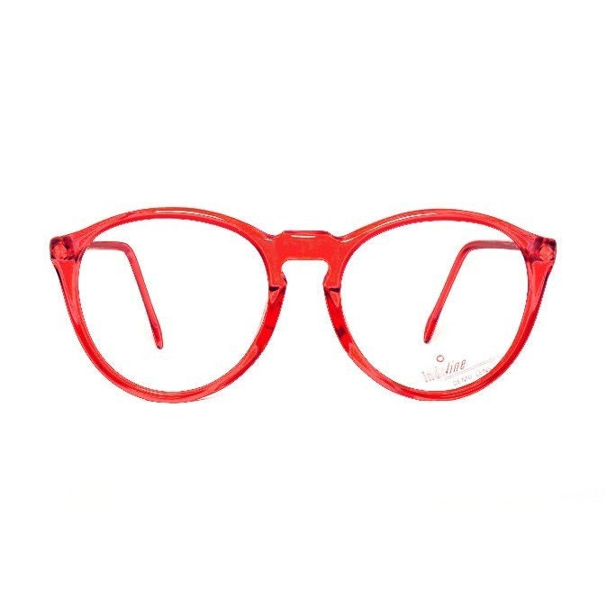 Red transparent Round Vintage Eyeglasses