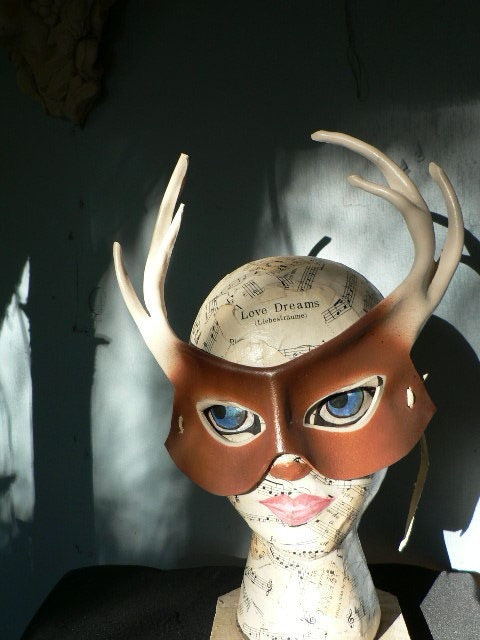 White tail Deer leather mask for halloween costume by faerywhere