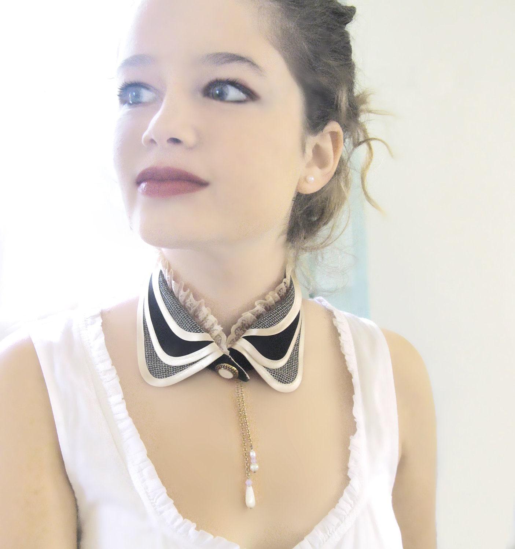 Plaid collar black and ivory peter pan collar turndown collar vintage style steampunk collar - MySecretFace