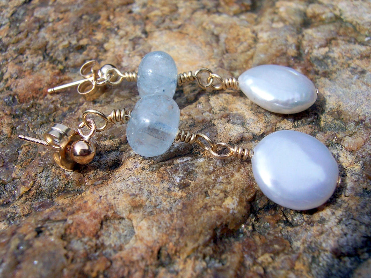 Aquamarine and pearl gold wire wrapped stud earrings