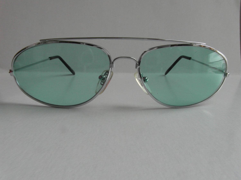 Vintage Silver Oval Aviator Mint Green Lenses Sunglasses