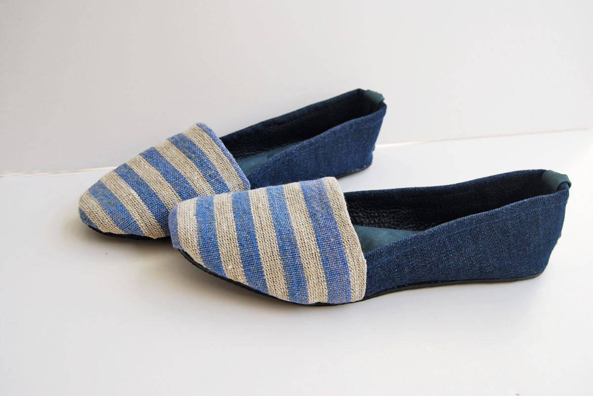 Handmade nautical blue and white stripes upcycled jean leather and linen canvas ballet flat shoes-made to order - Erinbonnie