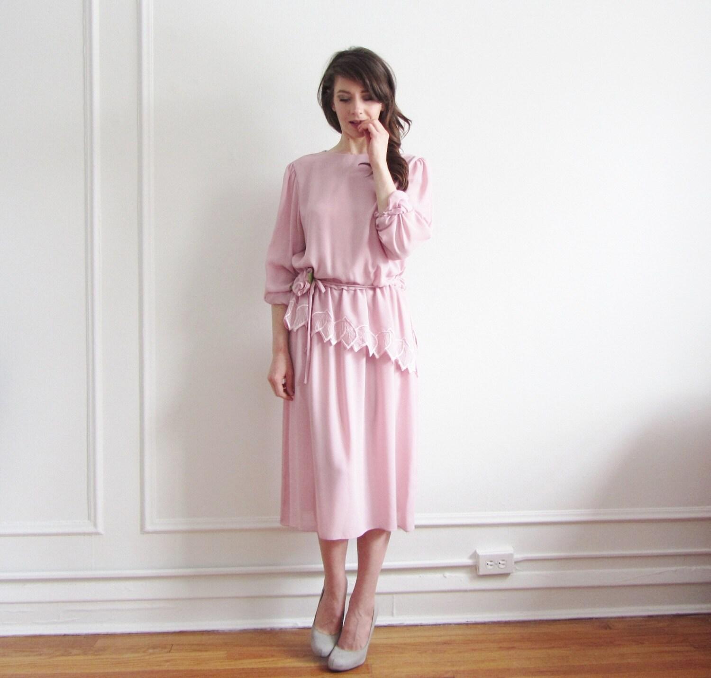 petal pink peplum dress . sheer leaf trim . bow tie sash .medium.large - DOTTO