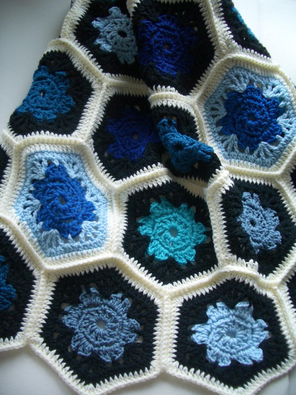 Modern granny square crochet blanket by mostlyjonah, flower hexagon afghan