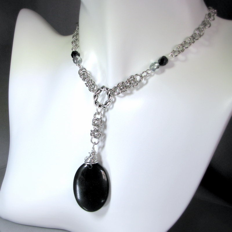 of assur black obsidian necklace ooak chain by