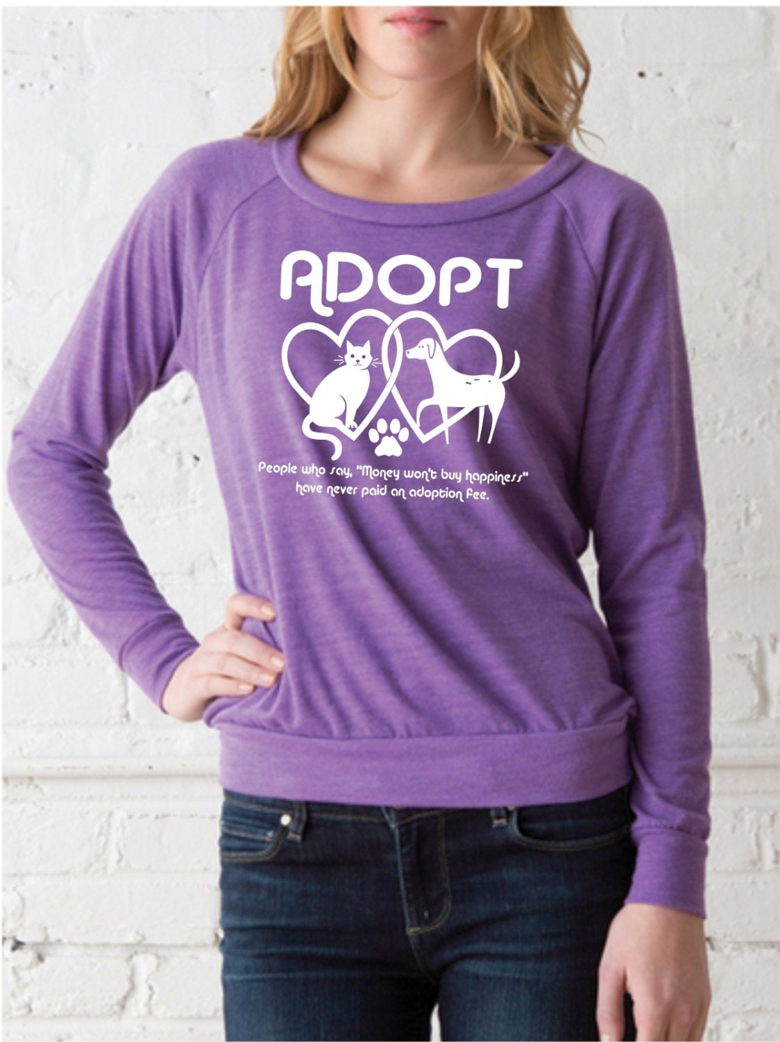 Animal Rescue shirt / Adopt tshirt / Slouchy Raglan Pullover / Radiant Orchid / Womens Long Sleeve / cat shirt / dog shirt / purple
