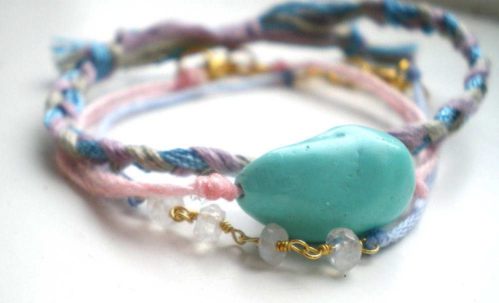 Stacking Bracelets Set- Turquoise Bracelet, Moonstone Bracelet, Metallic Braided Thread Bracelet