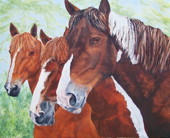 Foxy and  Friends Horse Three Herdmates Horse Art Laser Print by debra alouise  Artist