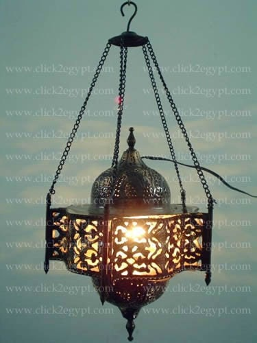 UNIQUE Pendant Moroccan Art Swag Metal/Brass Lamp Shade