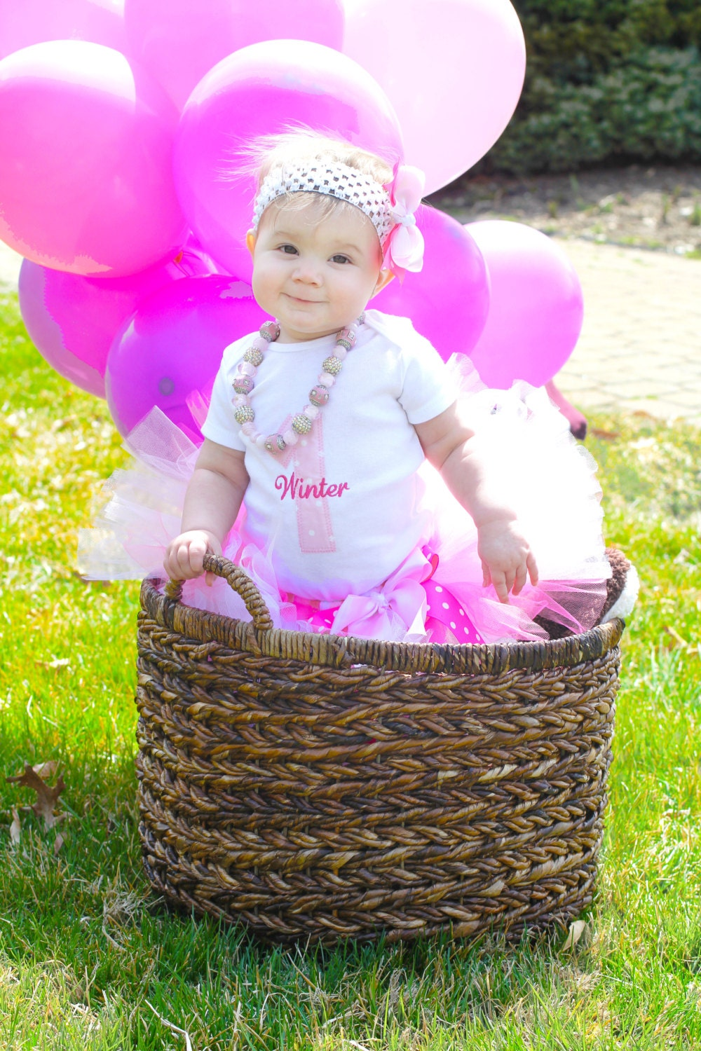 Baby Girl 1st Birthday Tutu Set--Party Outfit--Personalized--Pink