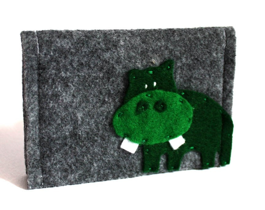 green hippo felt wallet