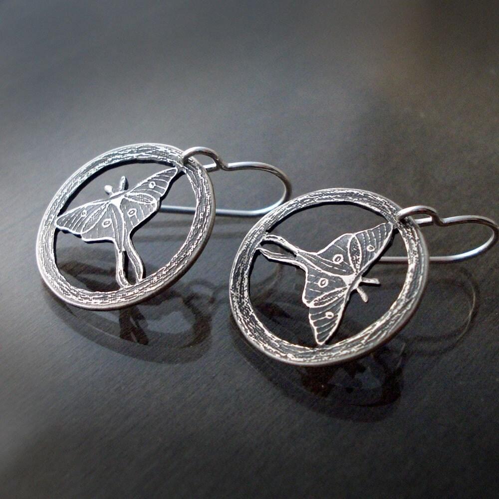 Encircled Silver Luna Moth Earrings