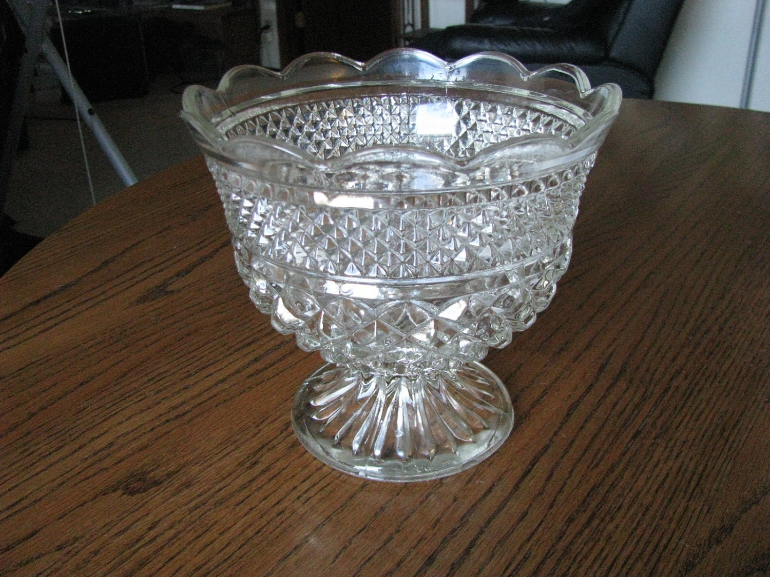 Vintage glass compote footed fruit bowl by vintagedoodads - Footed bowl centerpiece ...