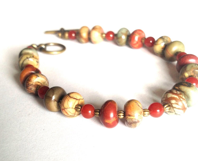 Earthy Boho Bracelet - Hippie Earth Toned Beaded Bracelet - PhreshThreadz