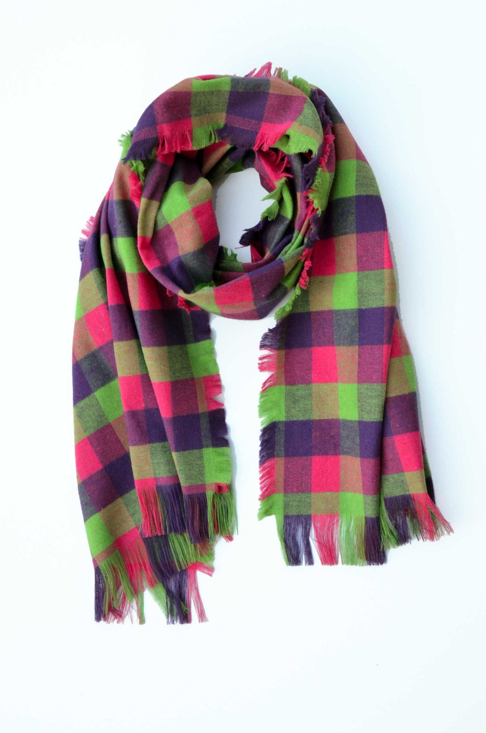 Tartan scarf blanket scarf oversized scarf gift for her girlfriend giftplaid wrap pink green purple flannel cool girlfriend gift