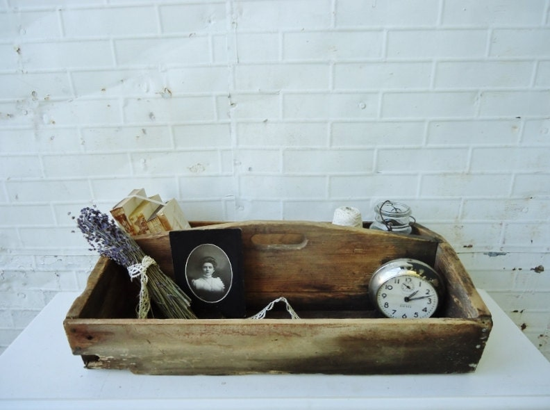 Antique Wooden Tote - Tool Trug - Extra Large - Double Tote - Wedding Centerpiece Display
