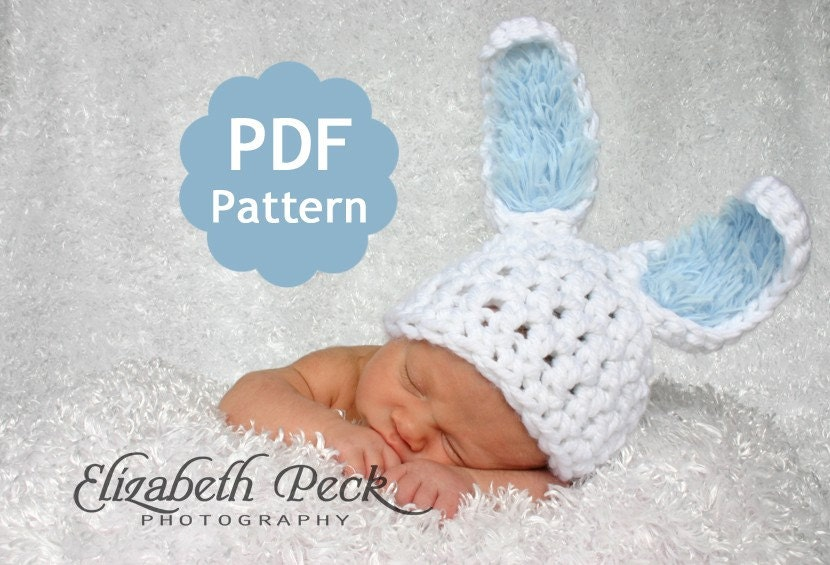 Items similar to Baby Bunny Rabbit Ears Hat -- Pattern for ...
