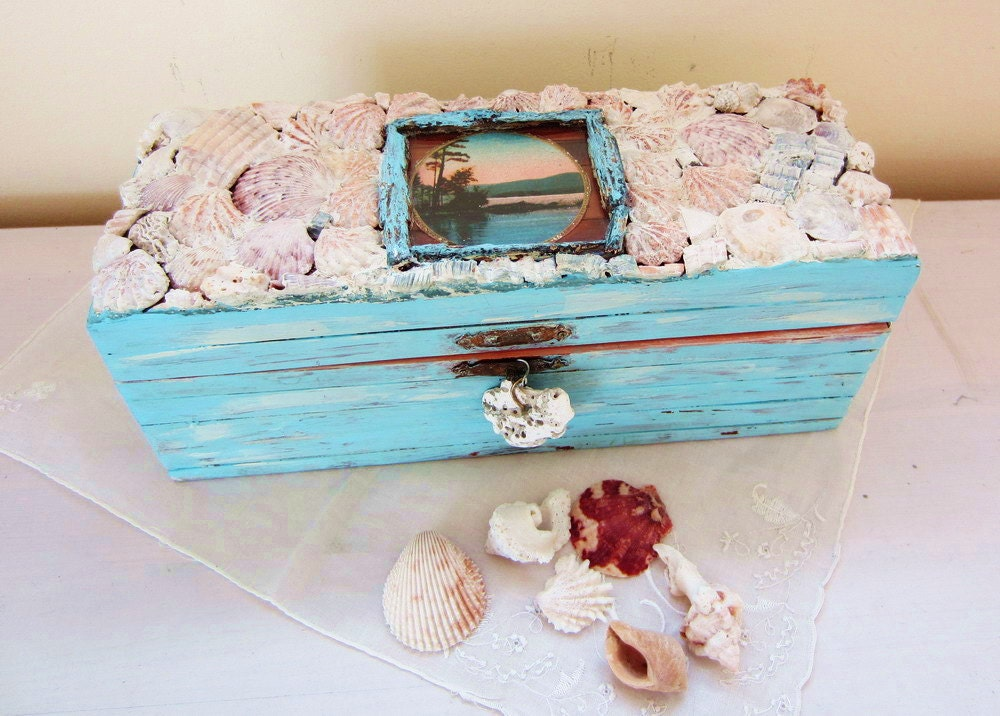 Shell Mosaic on Bamboo Box - ReclaimedDesigns