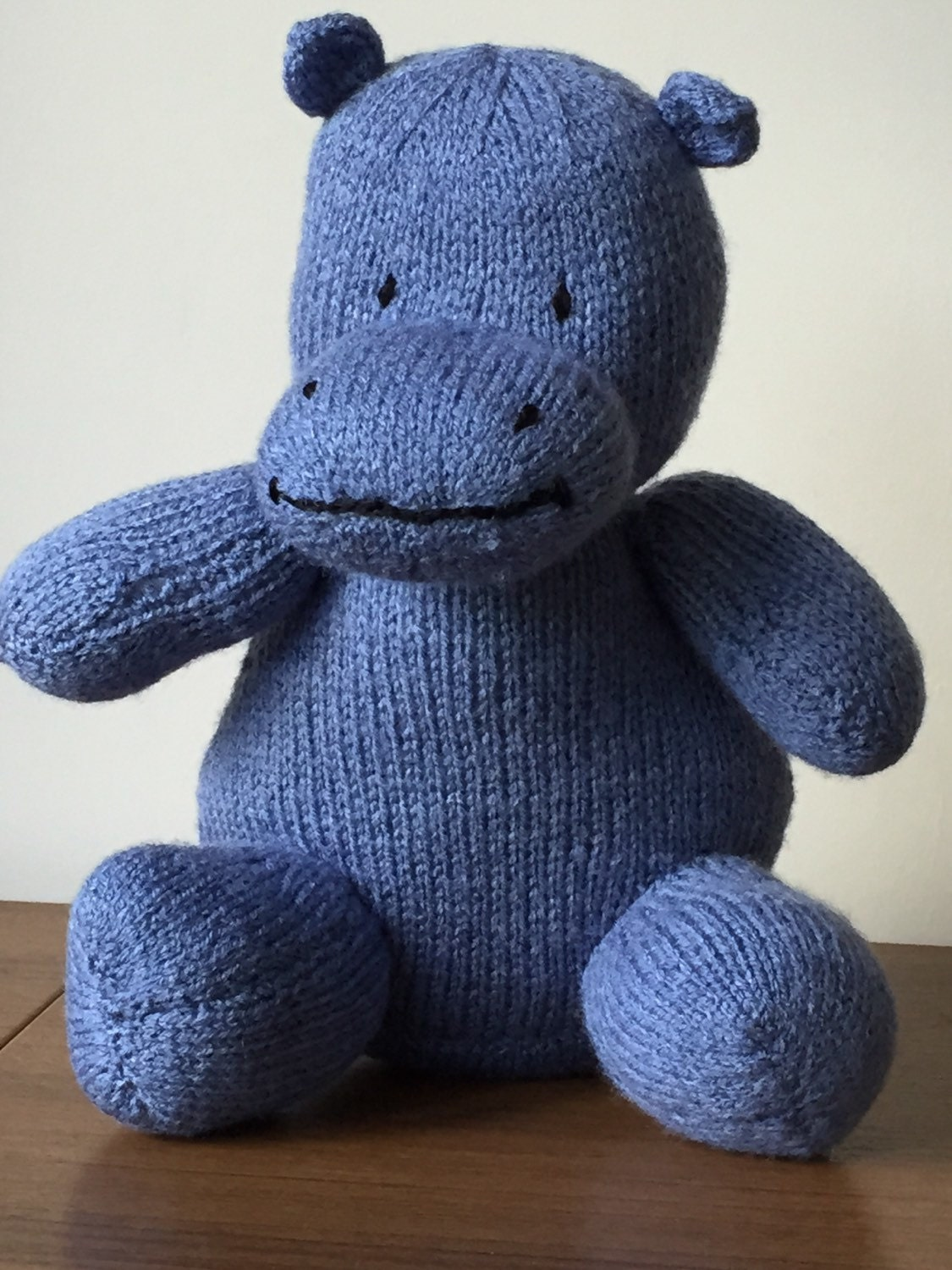 Hand Knitted Hippo Soft Toy (ALL proceeds to charity )