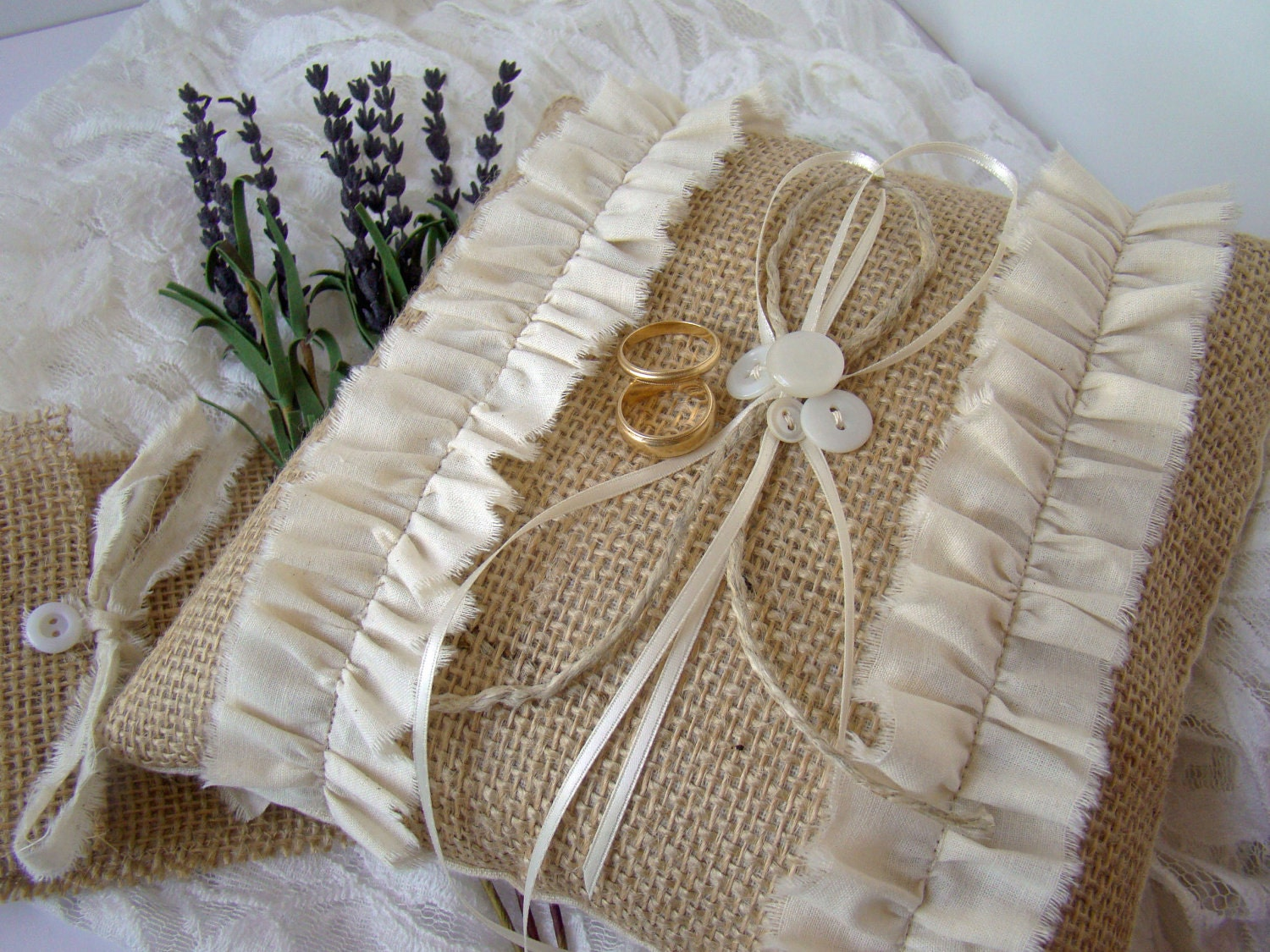 rustic burlap ring bearer pillow country wedding by