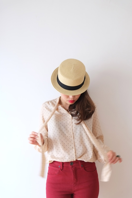 Cream dream dot vintage blouse, S - M, Japan - kamomeya