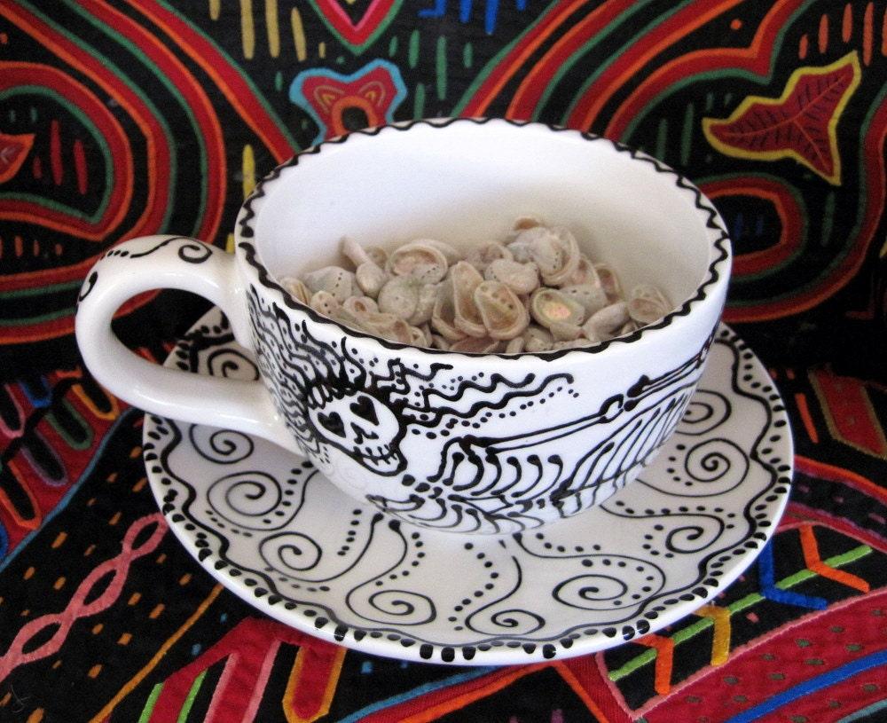 Mermaid Skeleton Latte Cup & Saucer
