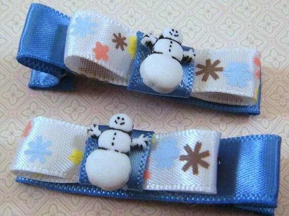 Cute Snowman Hair Clip Set