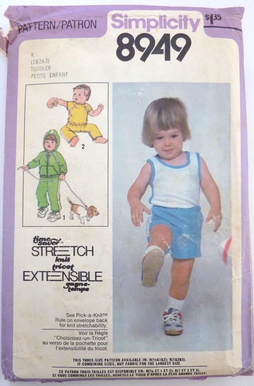 Vintage Simplicity 8949 Sewing Patt ern - circa 1979 - Toddler's