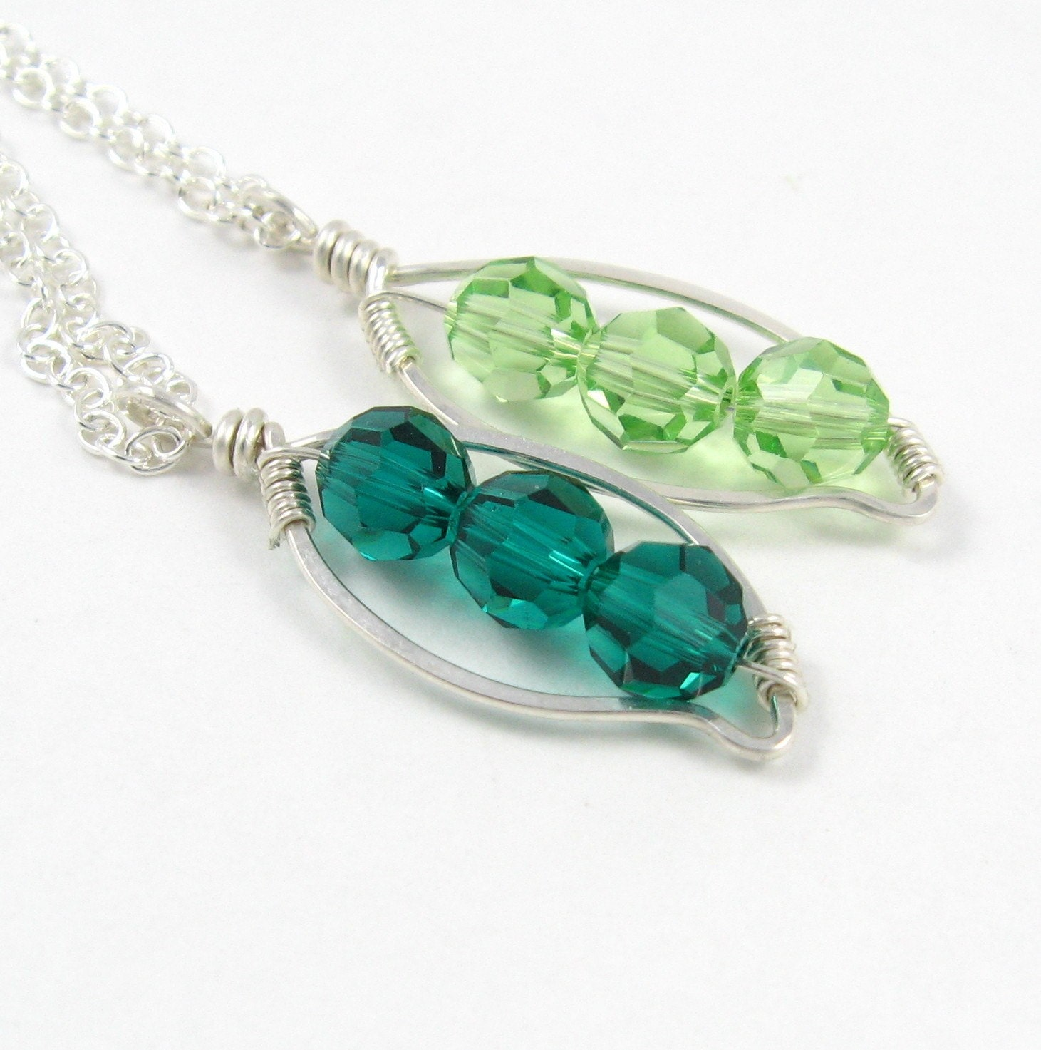 Pea Pod Peapod Swarovski Mother's Necklace Sterling Silver Swarovski Crystal Emerald Green