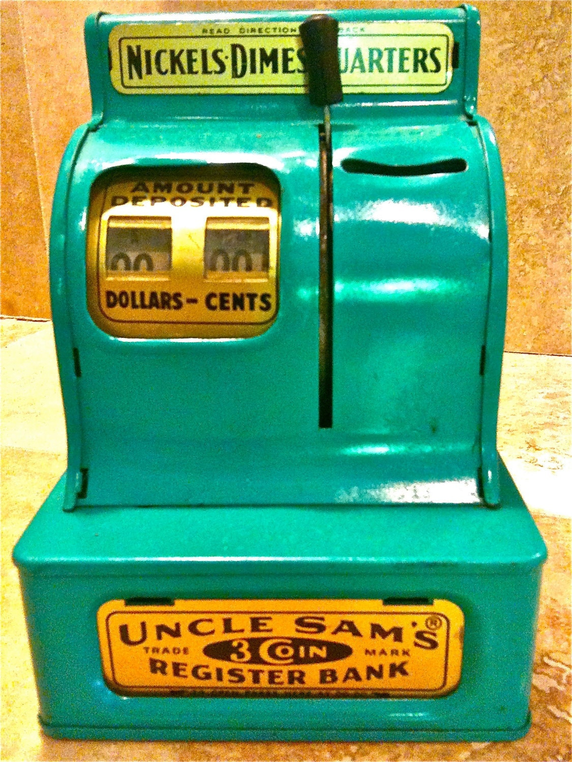 Uncle Sam's vintage 3 coin  paper bills children's toy register bank 1950's MCM industrial mint green metal - Hanahouhale