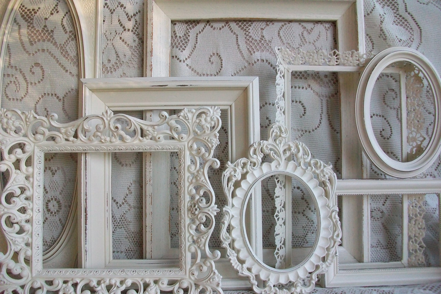 White picture frame set shabby chic large heirloom by - Large antique picture frames ...